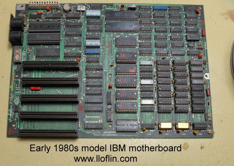 Early 1980s IBM motherboard with 8-bit ISA slots.